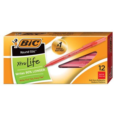 BIC® Round Stic Xtra Life Ballpoint Pen, 1mm, Medium, Red, 12pk.